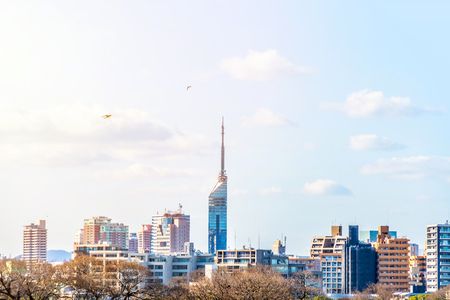 Asia Business concept for real estate and corporate construction - panoramic urban townscape aerial view with Fukuoka tower under bright blue sky and sun in Fukuoka Japan Stock Photo