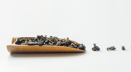 Asia culture and design concept - dry taiwan oolong tea leaves Stock Photo