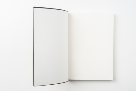 Design concept - Top view of opening high grade brown notebook cover isolated on white background for mockup