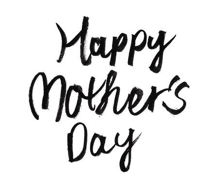 Concetto di design - calligrafia felice di giorno di madri di scrittura a mano su fondo bianco