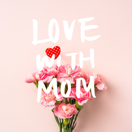 mothers day design concept - top view of a bunch of carnation with hand writing script on pink background with square copy space for mock up Imagens