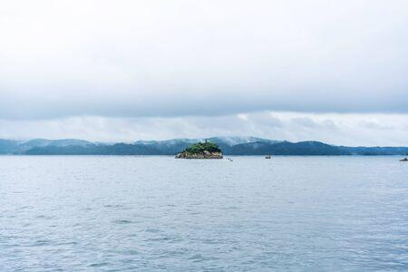 Asia travel concept - panoramic sea and blue sky and island view of Matsushima in Miyagi, Japan