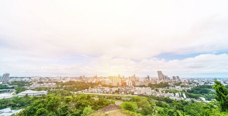 Asia business concept for real estate and corporate construction - panoramic modern city skyline aerial view of Sendai in Miyagi, Japan