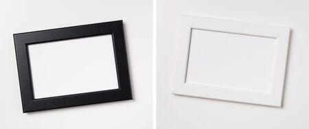 Design concept - top view of white and black wood photo frame isolated on white background for mockup, it's real photo, not 3D render Фото со стока - 140963518