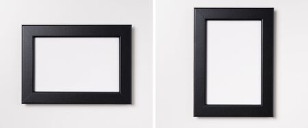 Design concept - top view of white and black wood photo frame isolated on white background for mockup, it's real photo, not 3D render Фото со стока - 140963181