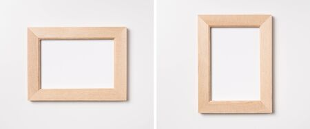 Design concept - top view of wood photo frame isolated on white background for mockup, its real photo, not 3D render