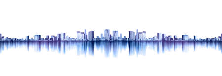 Asia Business concept for real estate and corporate construction - panoramic urban city skyline view with reflection for mock up in Tokyo, Japan