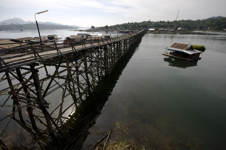 The longest wooden bridge in Thailand. photo