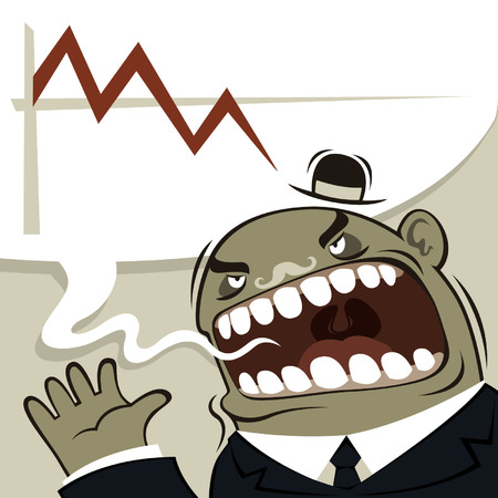 domination:  Angry boss shouting  Financial crisis