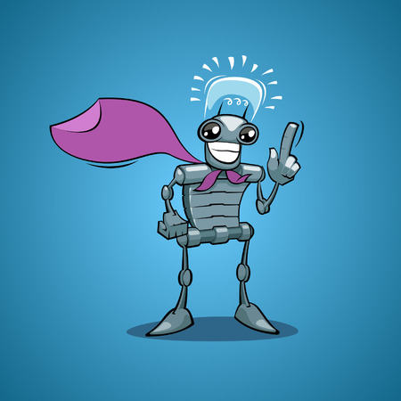Back background Robot have idea Vector