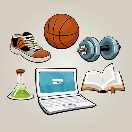 A set of education and sport related icons  Vector
