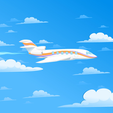 fuselage: White plane flying above the clouds