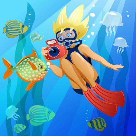 Jeune plongeur sous l'eau Dans le fichier EPS, chaque élément est regroupé séparément