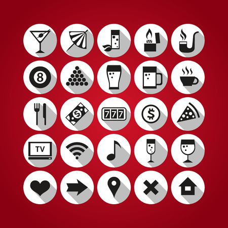 Set of 25 icons for bar themes. Vector