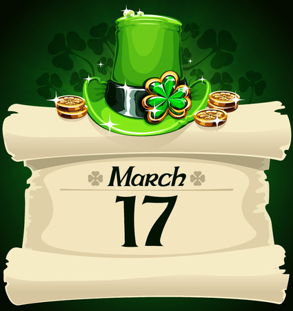 Paper scroll with symbols of St. Patrics Day.   Vector
