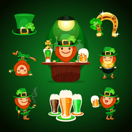 Set of Patrick poses and St  Patrick Vector