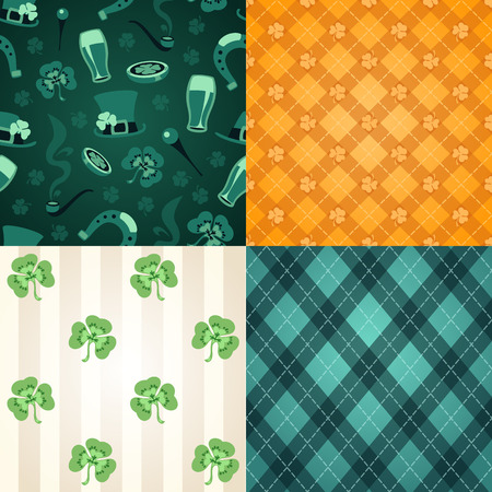 cartoon shamrock: Four st  Patrick s Day s seamless textures  Editable pattern in swatches  Illustration