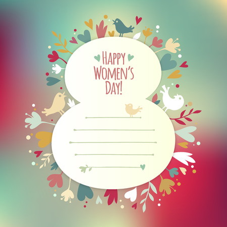 Greating card for International Womens Day, each element is grouped separately. Illustration