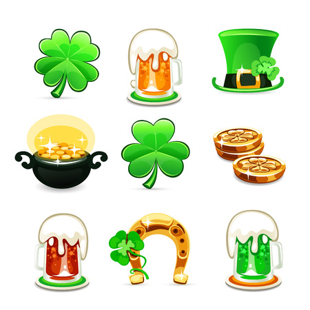 St Patricks Day icons set Vector
