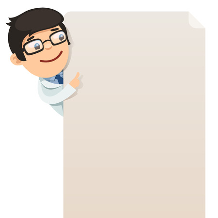Doctor looking at blank poster  In the EPS file, each element is grouped separately  Isolated on white background  Çizim