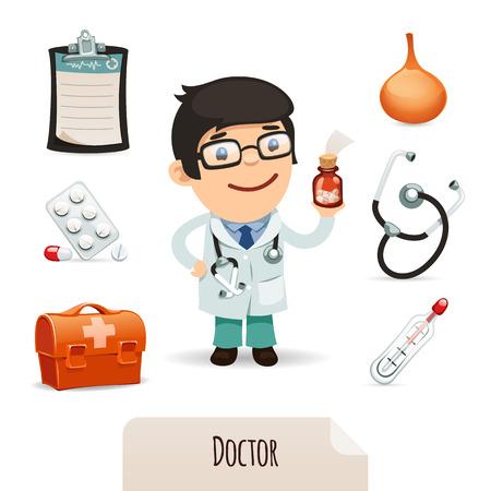 medico caricatura: Conjunto médico con un doctor de sexo masculino en el archivo EPS, cada elemento se agrupa por separado aislados sobre fondo blanco