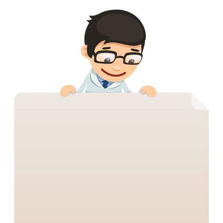 Doctor looking at blank poster on top  In the EPS file, each element is grouped separately  Isolated on white background