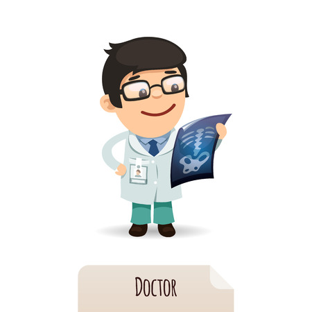 Doctor looking at x-ray  In the EPS file, each element is grouped separately  Isolated on white background