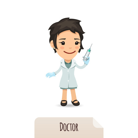 Doctor with vaccine  In the EPS file, each element is grouped separately  Isolated on white background  Ilustração