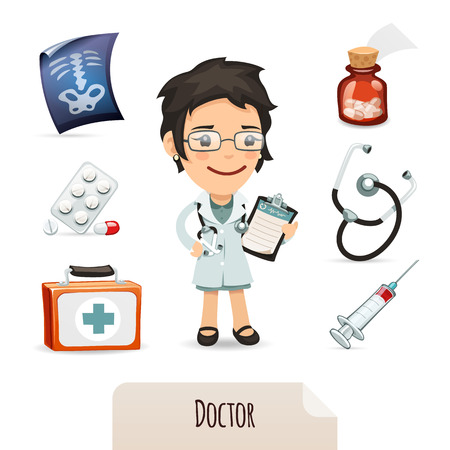 collections: Medical set with a female doctor  In the EPS file, each element is grouped separately  Isolated on white background