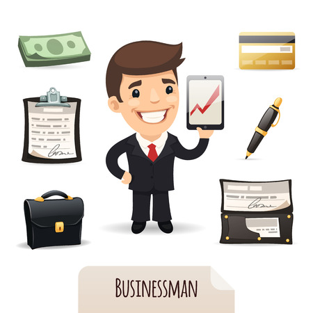 Businessmans icons set  In the EPS file, each element is grouped separately  Isolated on white background  Vector