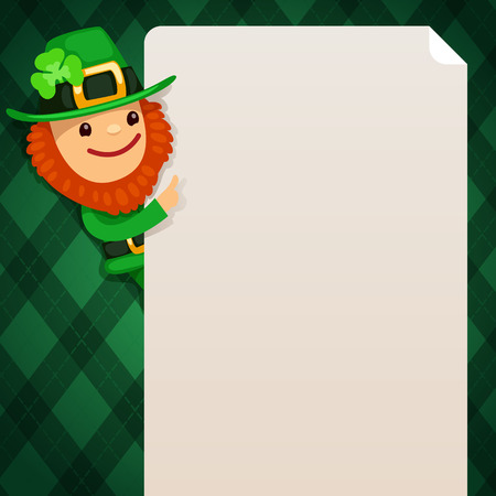 Leprechaun looking at blank poster on green background  In the EPS file, each element is grouped separately  Isolated on white background  Vector