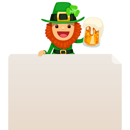 Leprechaun looking at blank poster on top  In the EPS file, each element is grouped separately  Isolated on white background  Vector