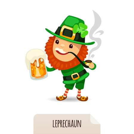 leprechaun background: Leprechaun with beer smokes a pipe  In the EPS file, each element is grouped separately  Isolated on white background