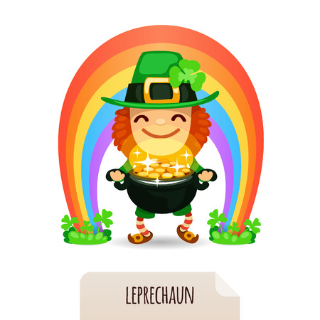 Lucky Leprechaun with coins in front of a rainbow  In the EPS file, each element is grouped separately  Isolated on white background  Stock Vector - 26633148