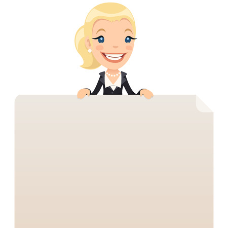 blank poster: Businesswoman looking at blank poster on top  In the EPS file, each element is grouped separately  Isolated on white background