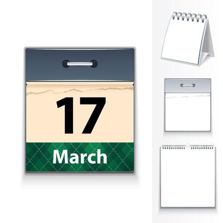 blanc: 17 de marzo del calendario y tres plantillas Blanc en el archivo EPS, cada elemento se agrupa por separado patr�n editable en muestras