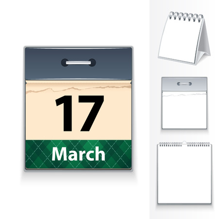 blanc: March 17 calendar and three blanc templates  In the EPS file, each element is grouped separately  Editable pattern in swatches