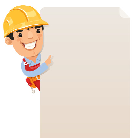 construction paper art: Builder looking at blank poster  , each element is grouped separately  Isolated on white background