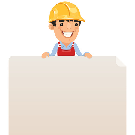 blank poster: Builder looking at blank poster on top , each element is grouped separately  Isolated on white background