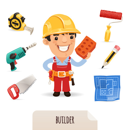 Builders icons set  , each element is grouped separately  Isolated on white background