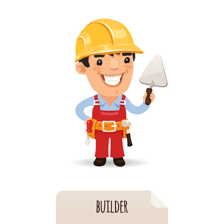 construction worker cartoon: Builder with a trowel , each element is grouped separately  Isolated on white background