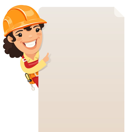 construction worker cartoon: Female Builder Looking at Blank Poster. Each element is grouped separately. Isolated on white background.
