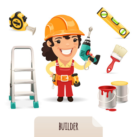 Female Builders Icons Set  Vector