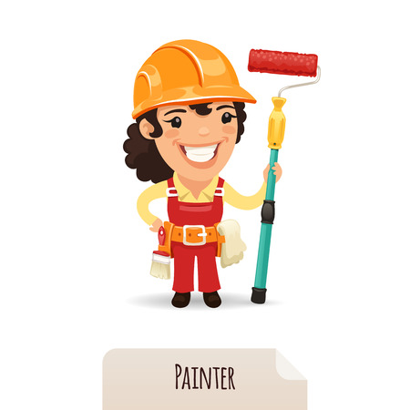 construction worker cartoon: Female Painter illustration  Illustration