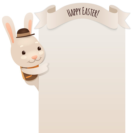 coney: Happy Easter Bunny Looking at Blank Poster
