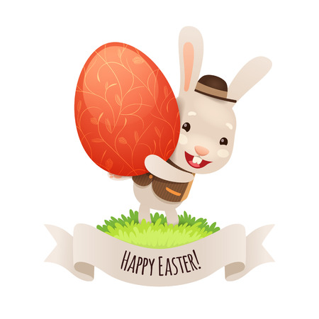 coney: Happy Easter Bunny With Red Egg   Illustration