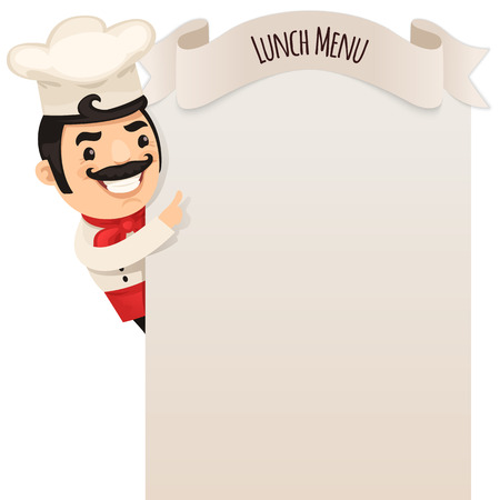 cartoon dinner: Chef Looking at Blank Menu   Illustration