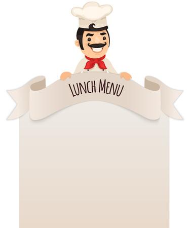 top menu: Chef Looking at Blank Menu on Top  Illustration