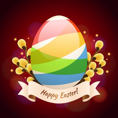 greening: Happy Easter Greening Card With Colored Egg  Illustration