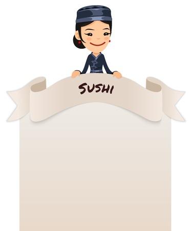 top menu: Asian Female Chef Looking at Blank Menu on Top   Illustration